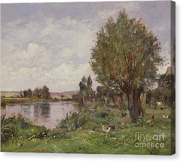 Riviere Canvas Print - Rural River Scene, 1875 by Alexandre Defaux