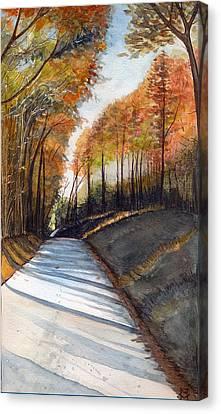 Rural Route In Autumn Canvas Print