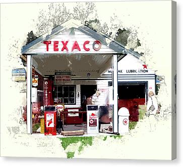 Rural Texaco Gas Station Canvas Print by Elaine Plesser