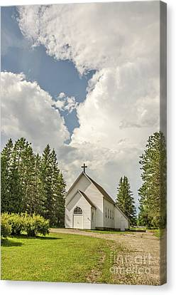 Canvas Print featuring the photograph Rural White Church With A Cross by Sue Smith