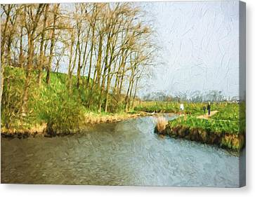 Bare Trees Canvas Print - Rural Winter Landscape - Painterly by Pati Photography