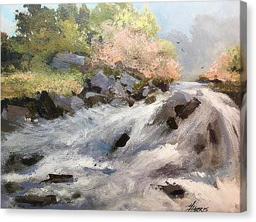 Canvas Print featuring the painting Rush by Helen Harris