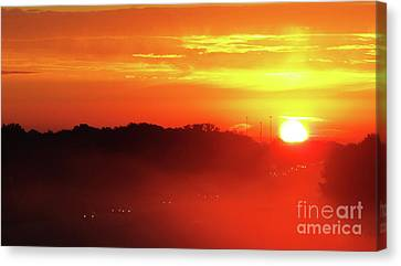 Rush Hour Begins At Sunrise I 94 To Madison Wisconsin Canvas Print