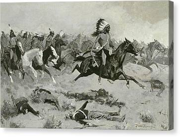 Rushing Red Lodges Passed Through The Line Canvas Print by Frederic Remington