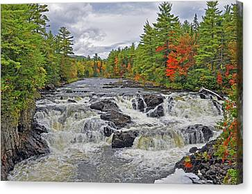 Canvas Print featuring the photograph Rushing Towards Fall by Glenn Gordon