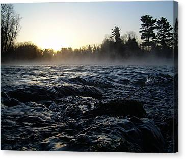 Canvas Print featuring the photograph Rushing Water In Missississippi River by Kent Lorentzen