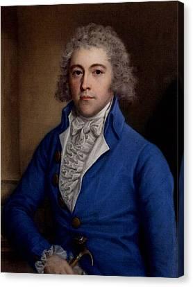 Half-length Canvas Print - Russell John Portrait Of A Gentleman Half Length In A Blue Coat by John Russell
