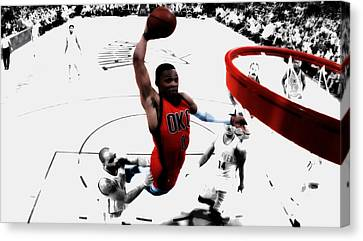 Russell Westbrook In Flight Canvas Print