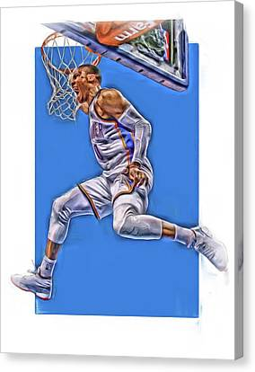 Russell Westbrook Oklahoma City Thunder Oil Art 2 Canvas Print by Joe Hamilton