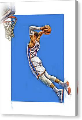 Russell Westbrook Oklahoma City Thunder Oil Art 3 Canvas Print by Joe Hamilton