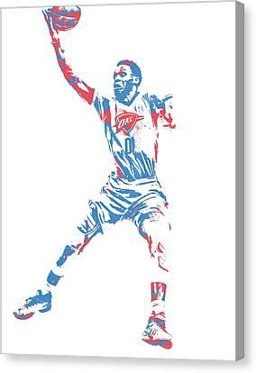 Nba Canvas Print - Russell Westbrook Oklahoma City Thunder Pixel Art 38 by Joe Hamilton