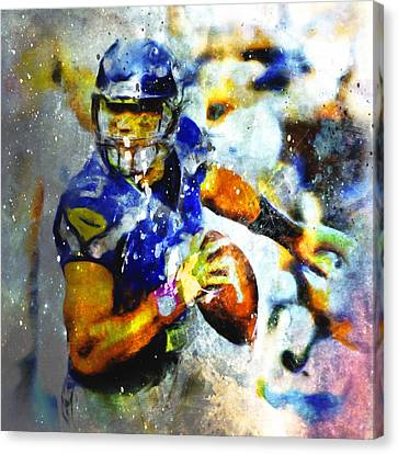 Russell Wilson On The Move 1b Canvas Print by Brian Reaves