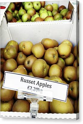 Russet Apples For Sale Canvas Print by Tom Gowanlock