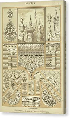 Orthodox Canvas Print - Russian, Architectural Ornaments And Wood Carvings by German School