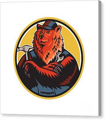 Russian Bear Builder Handyman Circle Woodcut Canvas Print by Aloysius Patrimonio