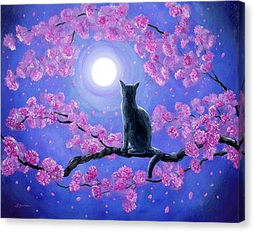 Russian Blue Cat In Pink Flowers Canvas Print by Laura Iverson