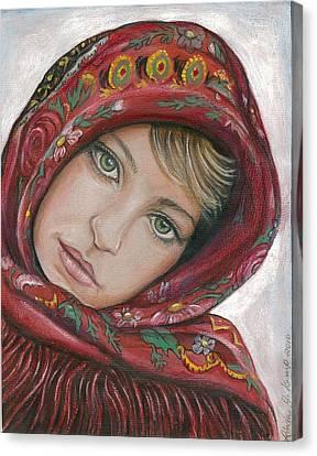Russian Girl Canvas Print by Linda Nielsen
