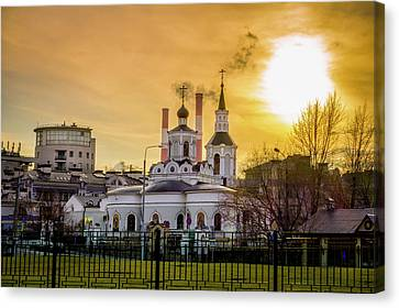 Canvas Print featuring the photograph Russian Ortodox Church In Moscow, Russia by Alexey Stiop