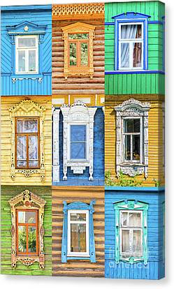 Canvas Print featuring the photograph Russian Windows by Delphimages Photo Creations
