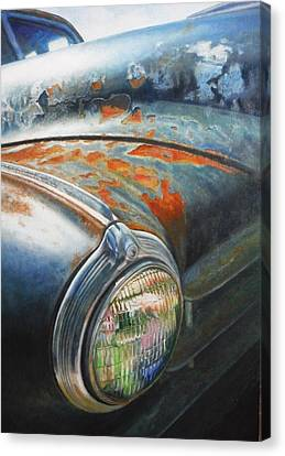 Rusted Cars Canvas Print - Rust Never Sleeps by Joan Florido