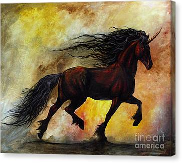 Unicorn Canvas Print - Rust Unicorn by Stanley Morrison