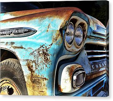 Rusted Old Chevy Truck - Photography Canvas Print by Ann Powell