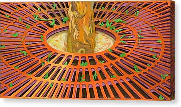 Rusted Tree Grate Canvas Print by Katherine Tomasello