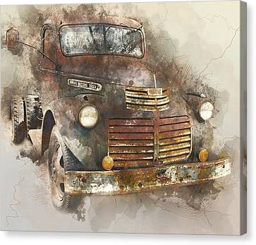 Rusted Vintage Truck - 1940s Gmc Truck Watercolor Canvas Print
