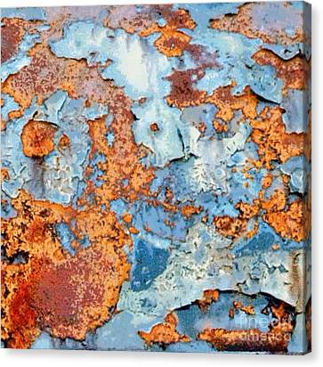 Abstracted Coneflowers Canvas Print - Rusted World In Blue - Across The Seas by Janine Riley