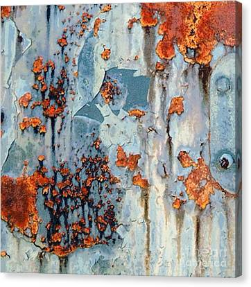 Abstracted Coneflowers Canvas Print - Rusted World - Orange And Blue - Abstract by Janine Riley
