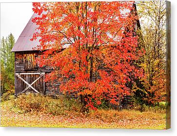 Canvas Print featuring the photograph Rustic Barn In Fall Colors by Jeff Folger