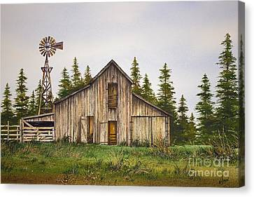 Canvas Print featuring the painting Rustic Barn by James Williamson