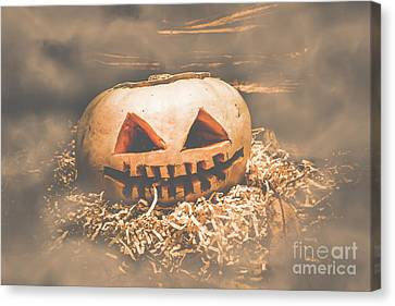 Rustic Barn Pumpkin Head In Horror Fog Canvas Print
