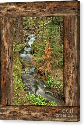 Rustic Cabin Window Forest Creek View  Canvas Print