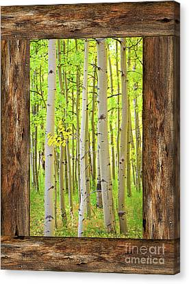 Rustic Cabin Window Into The Woods Portrait View  Canvas Print