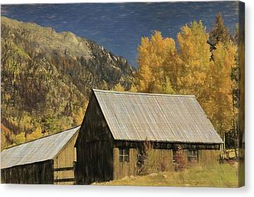 Rustic Colorado Cabin In Autumn Canvas Print by Dan Sproul