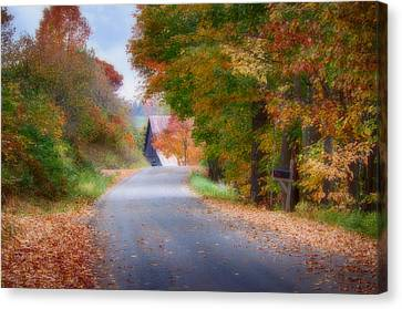 Rustic Country Lane Under Vermont Fall Colors Canvas Print by Jeff Folger