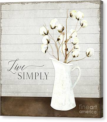 Cotton Farm Canvas Print - Rustic Farmhouse Cotton Boll Milk Pitcher Live Simply by Audrey Jeanne Roberts
