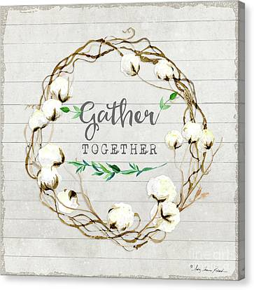 Cotton Farm Canvas Print - Rustic Farmhouse Cotton Boll Wreath 1 by Audrey Jeanne Roberts
