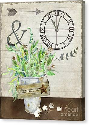 Cotton Farm Canvas Print - Rustic Farmhouse Our Happy Place by Audrey Jeanne Roberts