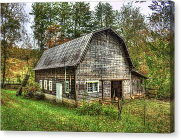 Rustic Gambrel Style Mountain Barn Great Smoky Mountains Canvas Print by Reid Callaway