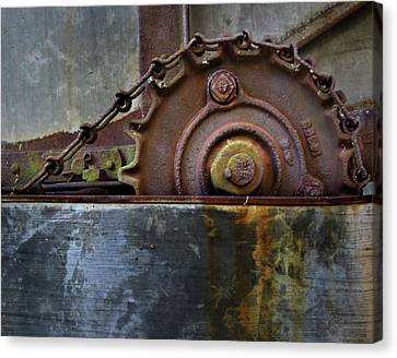 Canvas Print featuring the photograph Rustic Gear And Chain by David and Carol Kelly
