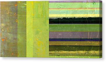 Canvas Print featuring the painting Rustic Green Flag With Stripes by Michelle Calkins