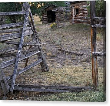 Old Cabins Canvas Print - Rustic Pioneer History by Leland D Howard