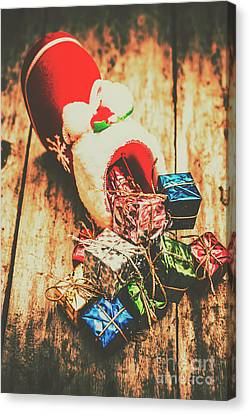 Rustic Red Xmas Stocking Canvas Print