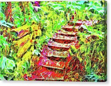 Canvas Print featuring the digital art Rustic Step Path Through The Woods - Tamalpais California by Joel Bruce Wallach