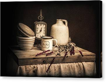 Wooden Bowls Canvas Print - Rustic Table Setting Still Life by Tom Mc Nemar