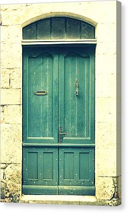 Rustic Teal Green Door Canvas Print by Georgia Fowler