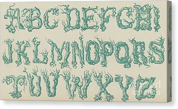 Schoolroom Canvas Print - Rustic Vine Font Capital Letters by English School