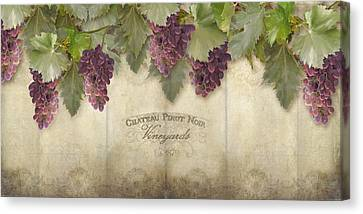 Rustic Vineyard - Pinot Noir Grapes Canvas Print by Audrey Jeanne Roberts
